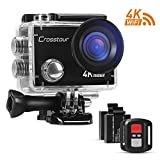 Action Camera Ultra HD 4K Wi-Fi Waterproof Remote Control Crosstour 98ft Underwater 170°Wide-angle 2 Inch LCD Plus 2 Rechargeable 1050mAh Batteries and 18 Mounting Accessories Action Cameras Crosstour