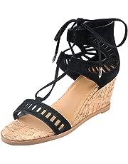 20423fc2541f Mylu Womens Toe Cutout Microfibre Lace Buckle Self-Tie Wedge Sandals