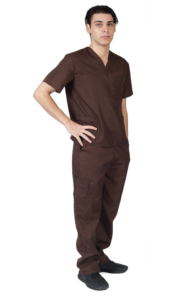 M&M SCRUBS Women Scrub Set Medical Scrub Top and Pants M Chocolate