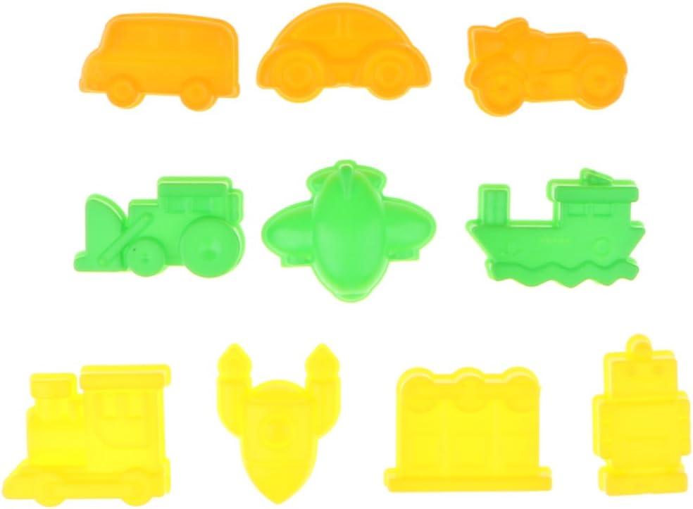 10pcs Molde de Arena Arcilla Modelo de Vehículos Plástico Juego de Castillo de Arena para Niños: Amazon.es: Juguetes y juegos