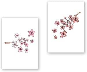 Cherry Blossom Prints Wall Decor Kitchen Sakura Art Set UNFRAMED Pictures 2 PIECES Nature Floral Plant Flower Small Prints Wall Art Vintage Print Poster (5x7)