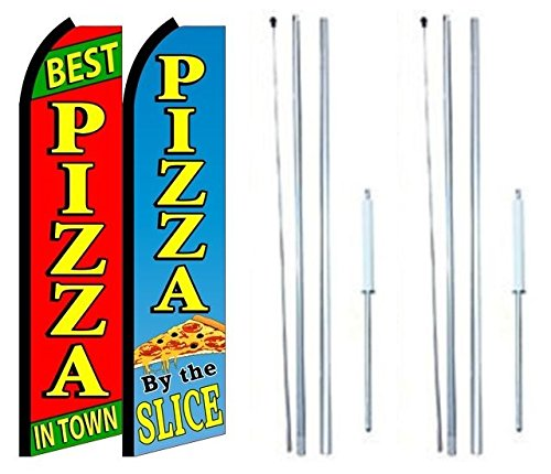 Best Pizza In Town Pizza By The Slice King Swooper Flag Sign With Complete Hybrid Pole set - Pack of 2 by OnPoint Wares