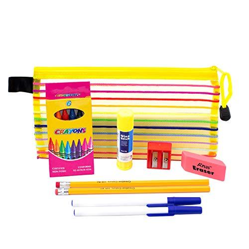 9 Piece Wholesale Kids School Supply Kit – Bulk Case of 48 Pack Bundle