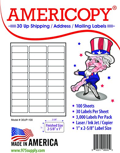 30 Up Labels - Address Labels - Americopy - Shipping / Mailing Labels - 1
