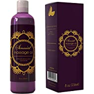 Sensual Massage Oil w/ Pure Lavender Oil - Relaxing Almond & Jojoba Oil - Women & Men – 100% Natural Hypoallergenic Skin Therapy 8 oz. - USA Made