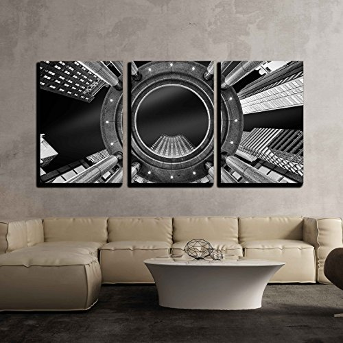 wall26-3 Piece Canvas Wall Art - Fine Art, Black and White, Abstract, Upward Perspective of New York Skyscrapers - Modern Home Decor Stretched and Framed Ready to Hang - 16