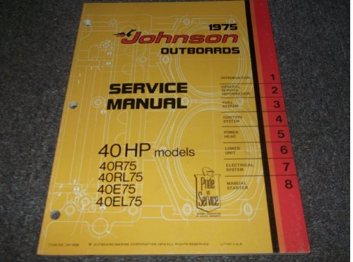 Johnson Service Manual (1975 Johnson Outboards 40 HP MODELS Service Shop Repair Manual FACTORY OEM 75)
