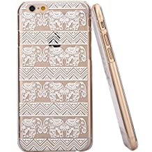 Onfire Henna White Floral Paisley Flower Mandala Elephant Plastic Case Cover for Iphone 6 4.7 Inch Screen (Not for Iphone 6 Plus)