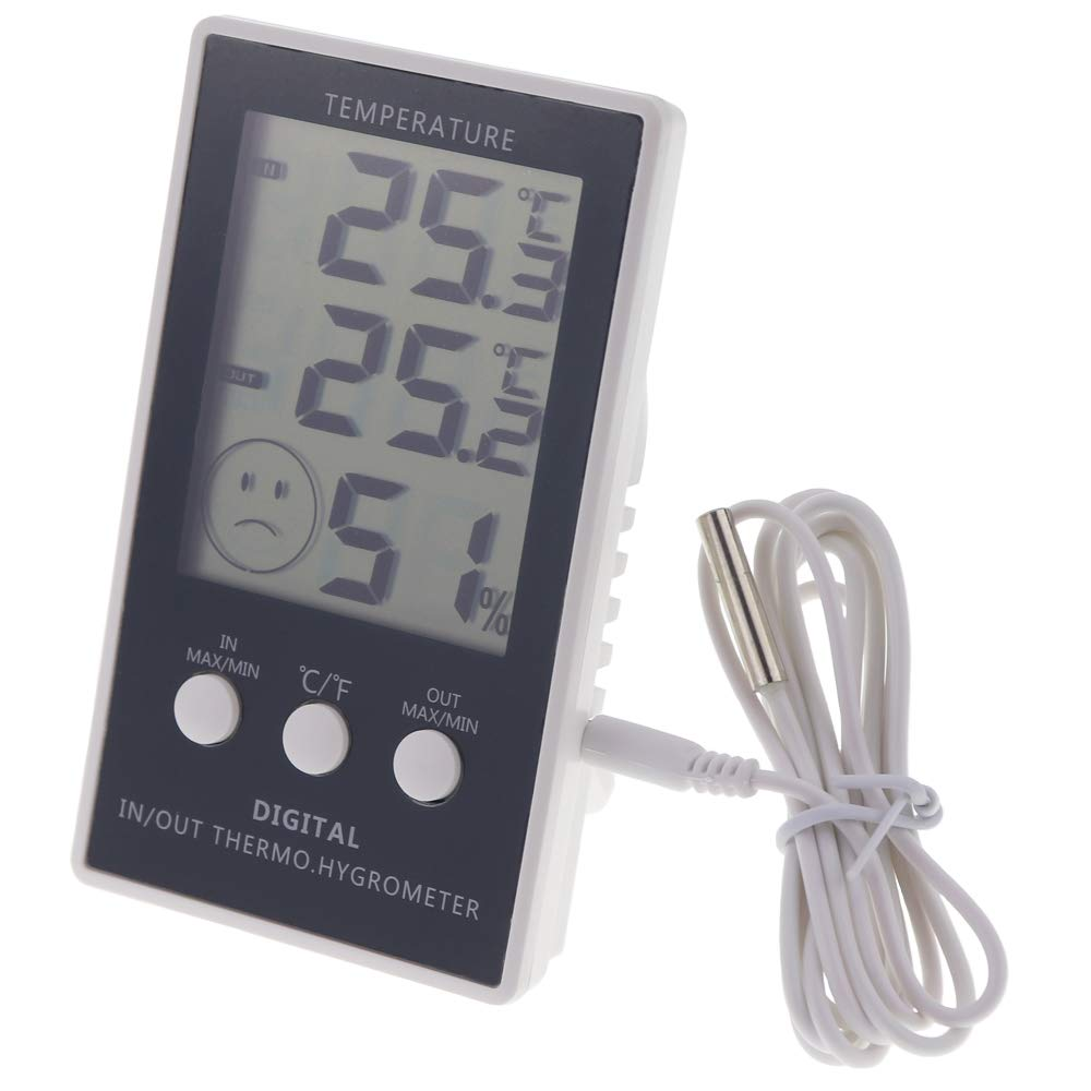 Max Min Thermometer with Main Unit Hygrometer - Indoor Outdoor with 1m Cable by Thermometer World