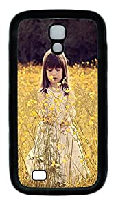 Samsung Galaxy S4 Case,Customize Ultra Slim Cute Child In A Flower Field Soft Rubber TPU Black Case Bumper Cover for S4