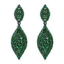 Austrian Crystal 2 Leaf Drop Dangle Earrings