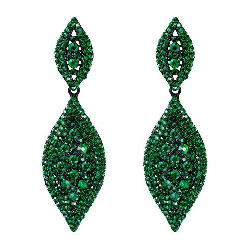 Flyonce Women's Stunning Austrian Crystal Wedding Bridal Dangle Drop Earrings Black-Tone Green