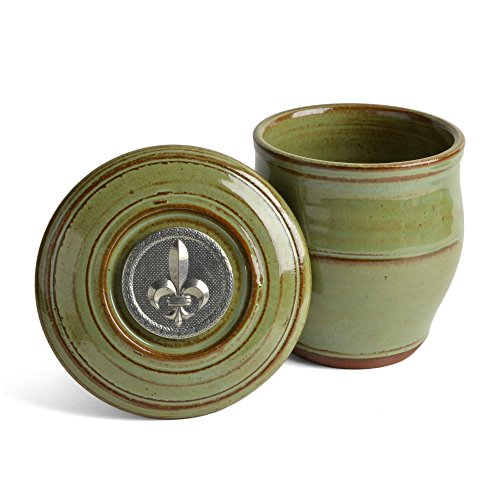 Oregon Stoneware Studio Fleur de Lys French Butter Crock, Pistachio