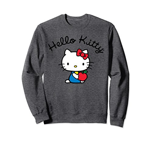 Unisex Hello Kitty Retro Logo Long Sleeve XL: Dark Heather (For Adults Hello Kitty Clothes)