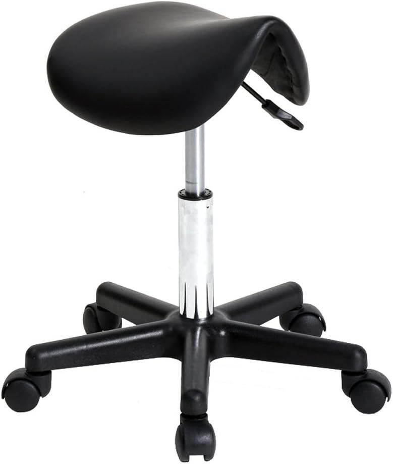 bangyao Saddle Stool Plastic Flat bar Stool Black Stylish Comfortable Swivel bar Stool Black PU Leather Rotate 360 Degrees