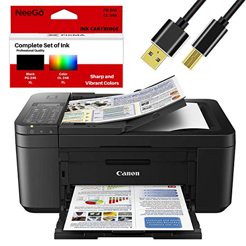 Canon Wireless Pixma TR4520 Inkjet All-in-one Printer with Scanner, Copier, Mobile Printing and Google Cloud + Bonus Set of Ink and Printer Cable...