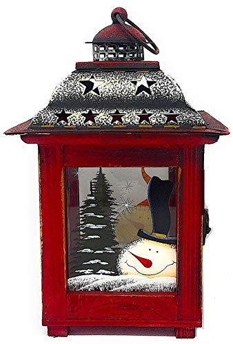 D.I.D. Christmas Holiday Lantern Rustic Candle Holder Red Antique Snowman Wood Glass Metal (10.5