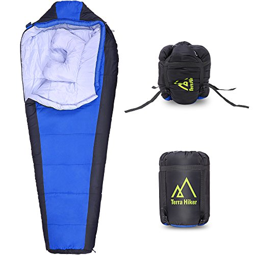 Terra Hiker Warm Sleeping Bag, Mummy Sleeping Bag for Camping, Traveling, Hiking, 14 °F – 50 °F(Blue) For Sale