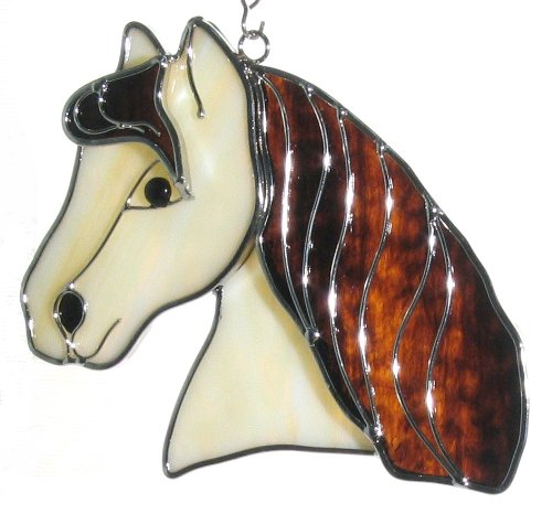 Horse Head Suncatcher Ornament in Real Stained ()