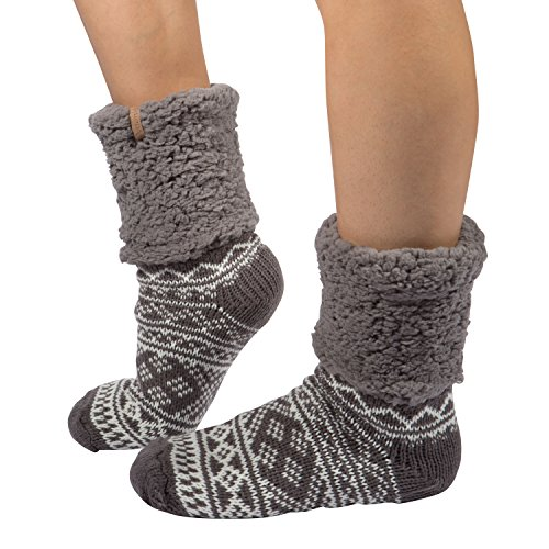 Womens Slipper Socks with Grippers Soft Sherpa Lined Winter Thermal Fuzzy Socks
