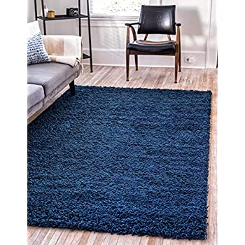 Unique Loom Solo Solid Shag Collection Modern Plush Navy Blue Round Rug (8' 2 x 8' 2)