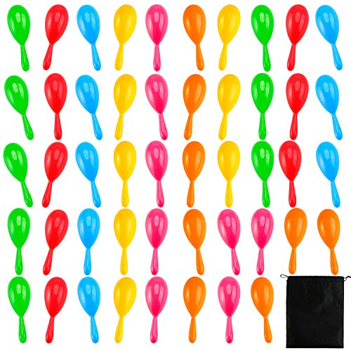 (Resinta 48 Pieces Neon Maracas Shakers 6 Color Mini Noisemaker Bulk Bright Colorful Noise Maker with Drawstring Bag for Classroom Musical Instrument and Mexican Fiesta Party Favors, 4 Inch)