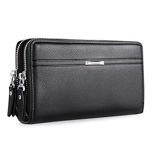WIN Mens Leather Wallet,Zip Clutch Long Wallet Purse Credit Card Holder (Black) (Long Wallet Zip)