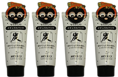 51PeYGAo0WL Daiso Japan Natural Pack Charcoal Peel Off Mask Tubes, 80g, Pack of 4