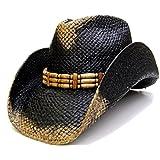 Modestone Men's Weathered Look Straw Cowboy Hat Black & Beige