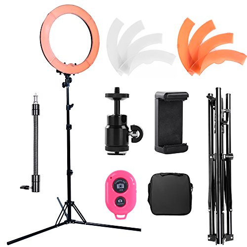 Hakutatz Dimmable 18 inches Diameter 75W Fluorescent 5500K Ring Flash Light Photo Video Studio Kit with Bag,Filter Set,Swivel Ball Head,Cellphone Clip Holder,Bluetooth Receiver,Soft Tube,Light Stand by Hakutatz