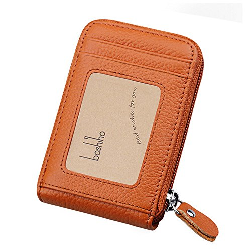 Boshiho RFID Blocking Card Holder Genuine Leather Credit Card Case Organizer Compact Wallet Zip Around Accordion Style (Brown)