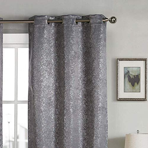 kensie Maddie Silver Metallic Textured Blackout Darkening Grommet Top Window Curtains Pair Drapes for Bedroom, Living Room-Set of 2 Panels, W38 X L96, Grey
