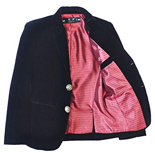 Yuanlu Boys Single-Breasted Velvet Black Blazer Size 6