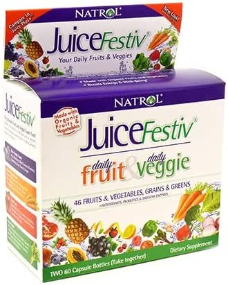 Natrol Juicefestiv Capsules, A Simpler Way to get Your Daily Fruits & Veggies, Also Contains SelenoExcell® for Improved Metabolism, Boosts Energy and Well-Being, 60 Count (Pack of 2)