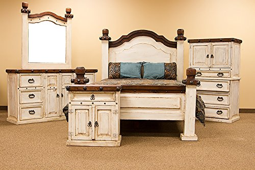 King Size White Catalina Rustic Grand Master Bedroom Set Group
