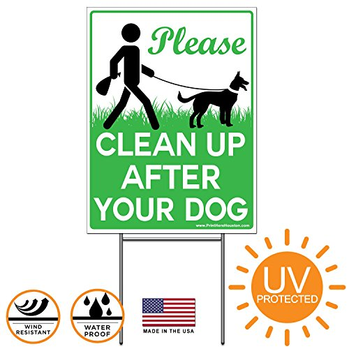 Vibe Ink 9 x 12 Please Clean Up After Your Dog - No Pooping Dog Lawn Signs with Metal Wire H-Stakes Stands ()