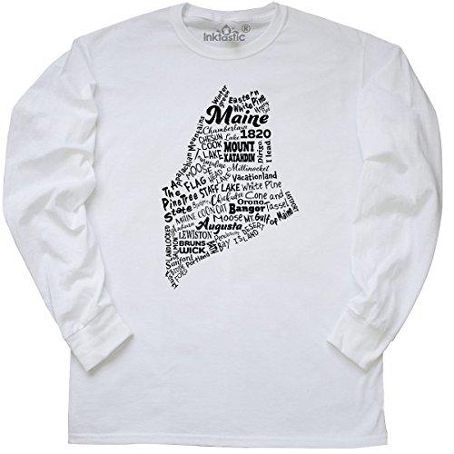 inktastic - Maine Word Salad- State Long Sleeve T-Shirt X-Large White (Maine Womens Long Sleeve)