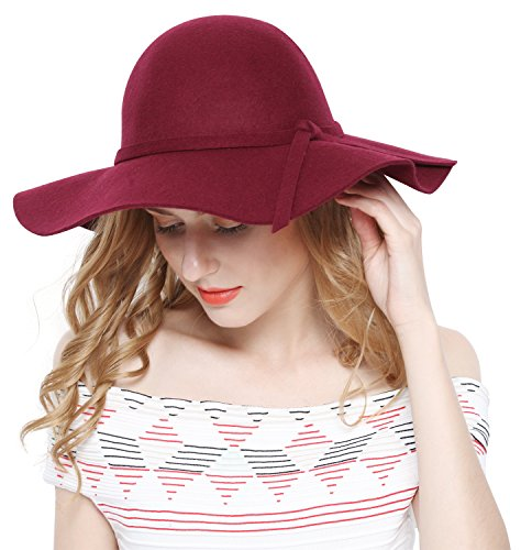 Women 100% Wool Wide Brim Cloche Fedora Floppy hat Cap, Burgundy