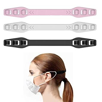 White 10PCS Ear Extension Hook 4 Gear Adjustable Extension Strap for Relieving Long-time Wearing Ears Pressure/&Pain for Adult and Child