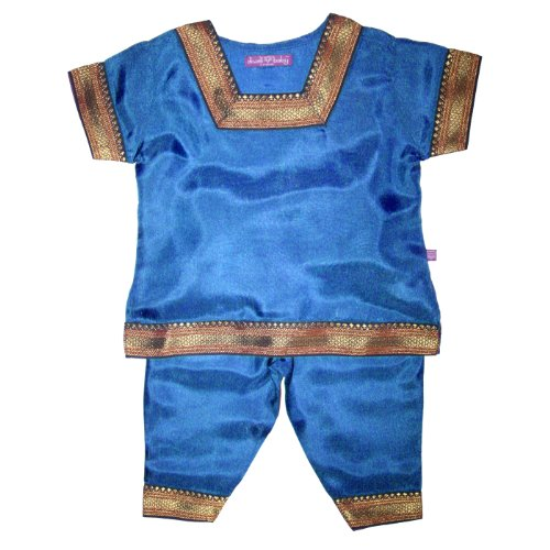 (Diwali Baby Indian Infant Girls Outfit - 100% Silk - Peacock - 0-3 Months)