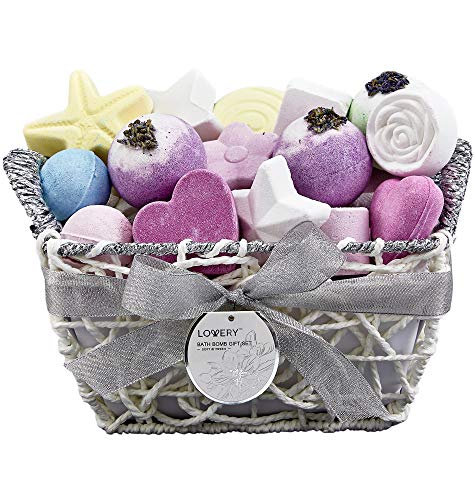 Bath Bombs Gift Set for Women – 17 Large Bath Fizzies in Assorted Colors, Shapes & Scents – Bath and Body Spa Set with Shea & Coco Butter, Dry Flower Petals – Ultra Lush Spa Set in Hand Weaved Basket from LOVERY