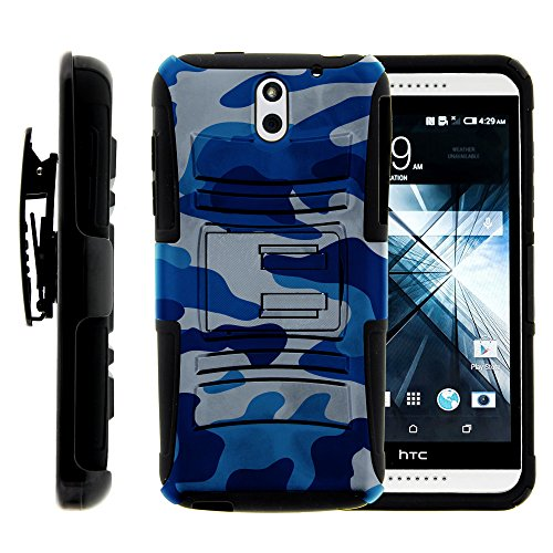 HTC Desire 610 Case, HTC Desire 610 Holster, Two Layer Hybrid Armor Hard Cover with Built in Kickstand for HTC Desire 610 (AT&T) from MINITURTLE | Includes Screen Protector - Blue Camouflage