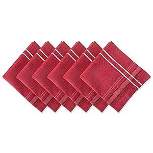 "DII 100% Cotton, Oversized Basic Everyday 20x20"" Napkin Set of 6, Tango Red Chambray French Stripe"