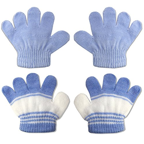 2 Pair Pack Infant to Toddler Baby Gloves Stretchy Knit Warm Winter (Ages 0-3) (Blue/Blue Stripe) ()
