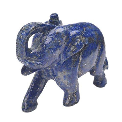gemhub Lapis Lazuli Gemstone Elephant Statue - Approximately 750.00 Ct. Decorative Hand Carved Statue ()