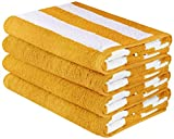 Utopia Towels Large Beach Towel, Pool Towel, in Cabana Stripes - (Yellow, 4 Pack, 30 x 60 Inches) - Cotton