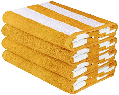 Utopia Towels Large Beach Towel, Pool Towel, in Cabana Stripe - (Yellow, 4 pack, 30x60 inches) - Cotton - by