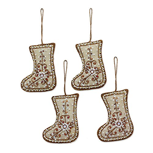 - NOVICA Decorative Cotton Christmas Beaded Hanging Ornament, White 'Celebration Stockings' (Set of 4)