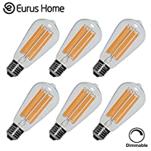 Eurus Home 10W Edison Vintage LED Bulb, Dimmable 100 Watt Incandescent Replacement, ST64 (ST21) Antique Retro Shape,UL Listed, E26 Medium Base, CRI90, 1000LM 2700K(Warm White), AC 120V 1 PACK (6, 10)