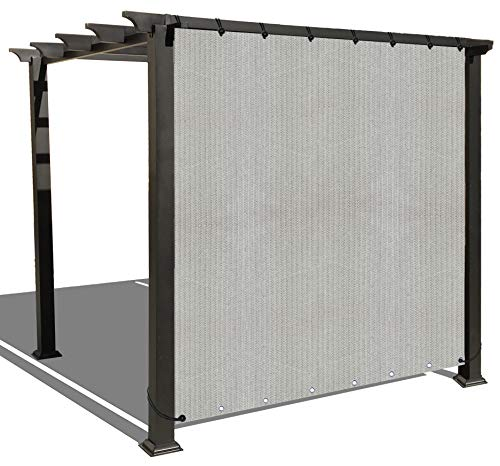 ALION HOME Sun Shade Privacy Panel with Grommets on 2 Sides for Patio, Awning, Window, Pergola or Gazebo - Smoke Grey (10' W X 6' H) (Hammock Pergola)